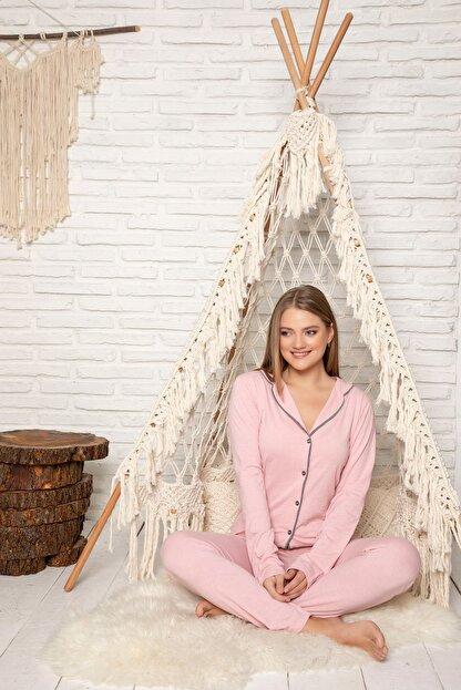 Strawberry Kadın Pudra Pamuklu Düğmeli Pijama Takim