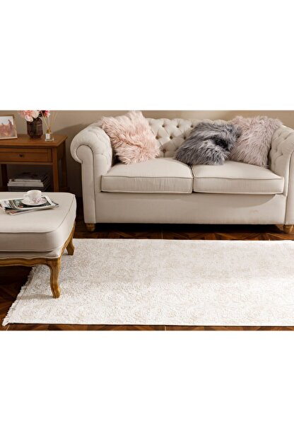 English Home Bej Şal Desen Polyester Halı 120x180 cm