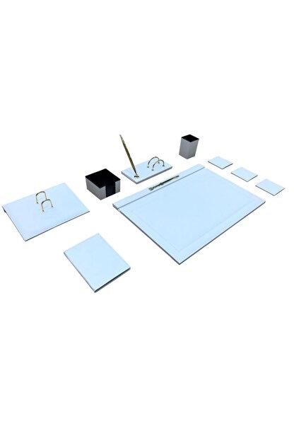 Ömür Ofis Masaüstü 8 Parça Deri Sümen Takımı - Beyaz