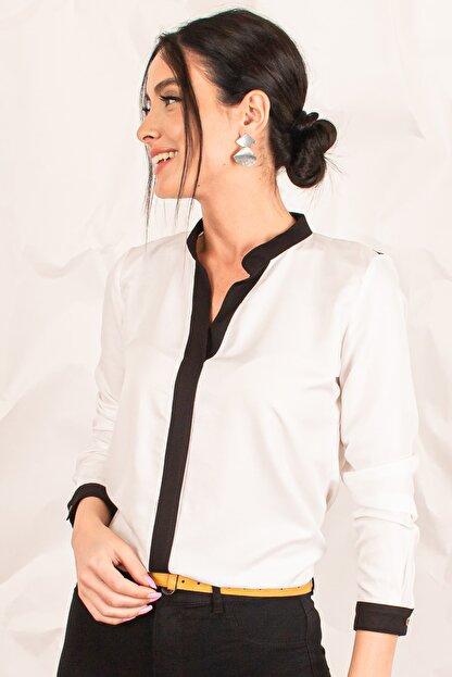 armonika Kadın Ekru Önü Şeritli Büyük Beden Gömlek ARM-20K001164