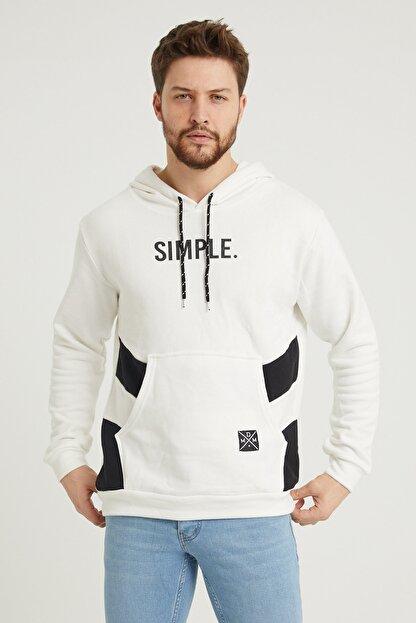 MODAMESTO Beyaz Kapüşonlu Baskılı Panelli Kanguru Cep Sweatshirt