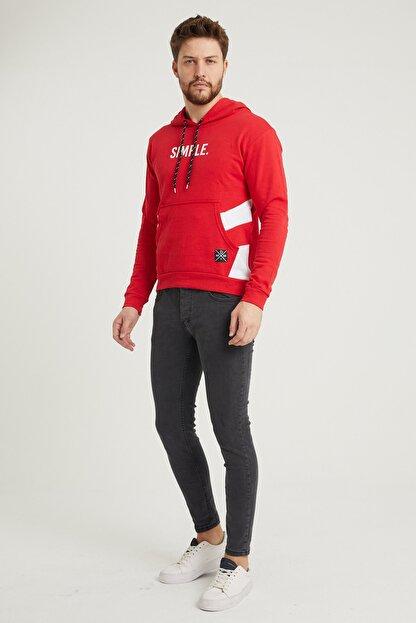 MODAMESTO Kırmızı Kapüşonlu Baskılı Panelli Kanguru Cep Sweatshirt