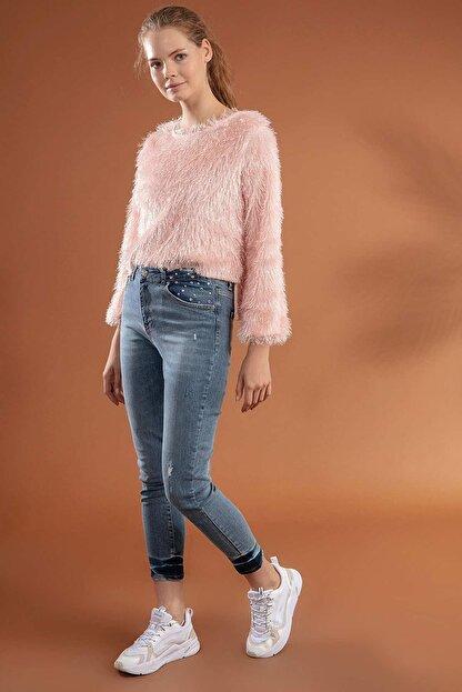 Pattaya Kadın Slim Boyfriend Taşlı Paça Detaylı Kot Pantolon 10275
