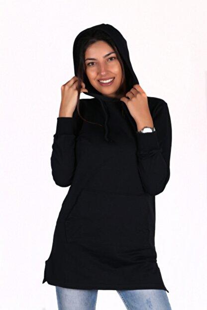 BÖRKİ Kadın Siyah Kapüşonlu Kanguru Cep Tunik Sweatshirt
