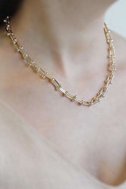 Marjin Kadın Altın Blanca Model Zincirli Kolye