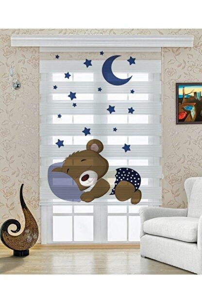 UCUZPERDEDUNYASI Uyuyan Ayıcık Baskılı Çocuk Odası Zebra Perde