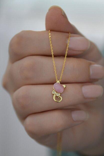 Papatya Silver 925 Ayar Altın Kaplama Gümüş Kedi Kolye