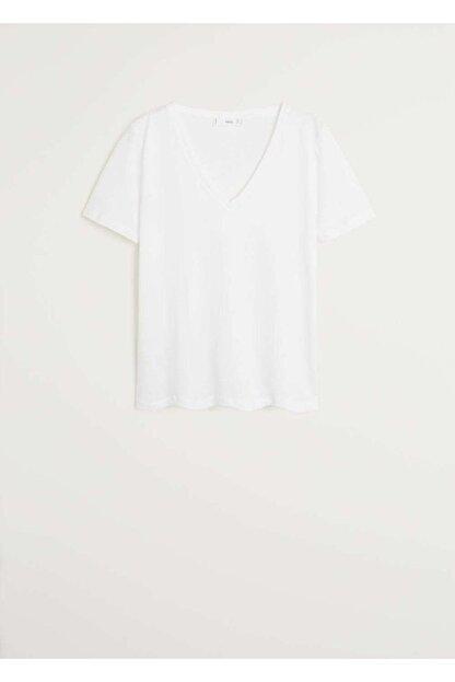 Mango Kadın Beyaz V Yakalı Pamuklu Tişört 67084384