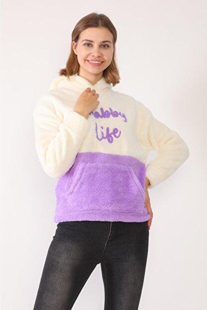 trendolur Kadın Lila Nakışlı Welsoft Kapüşonlu Sweatshirt