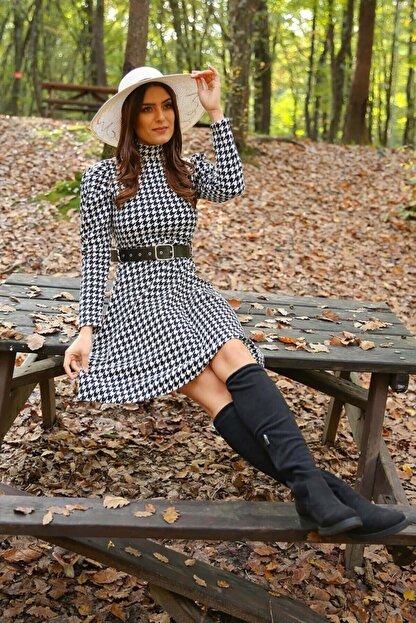 Neşeli Butik Kadın Yarım Balıkçı Kol Ve Kemer Detaylı Yeni Sezon Kışlık Elbise Nb7156