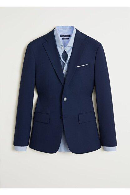 Mango Erkek Prusya Mavisi Regular Kesimli Mikro Dokuma Takım Blazer Ceket 67000515