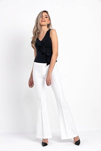 Zafoni Kadın Beyaz Ispanyol Paça Kumaş Pantolon