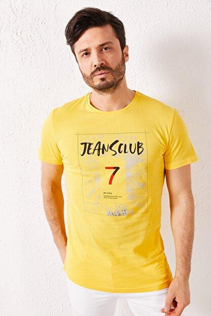 Zafoni Erkek Sarı 7 Baskılı T-shirt