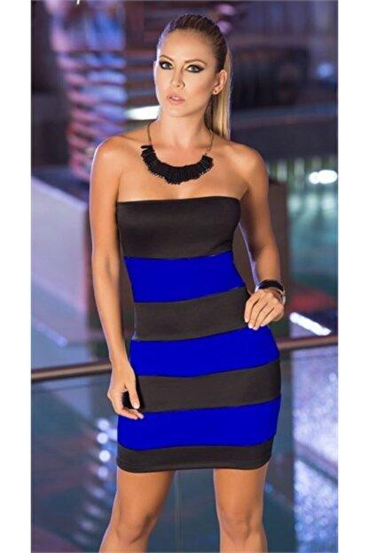 lovebox Kadın Siyah Tknfashıon Esnek Dalgıç Kumaş Straplez Mini Renkli  Gece Elbisesi