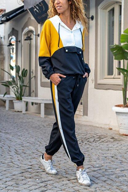 Güneşkızı Kadın Siyah-Sarı Kapüşonlu Color Block Alt-Üst Takım GK-AYN1796