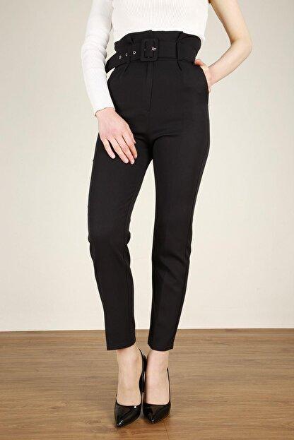 Z GİYİM Kadın Siyah Kemerli Yüksek Bel Kumaş Pantolon 6464zgm20