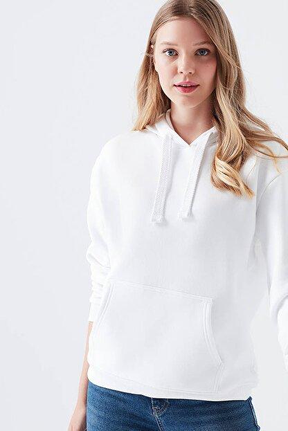 reel monde Kadın Beyaz Kapüşonlu Sweatshirt