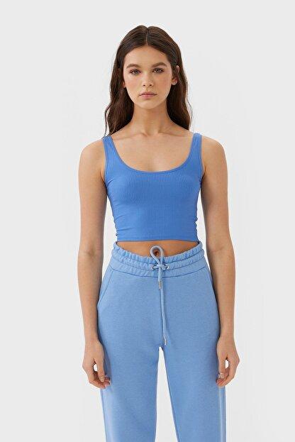 Stradivarius Kadın Mavi Crop Fit Kolsuz T-Shirt 02517784