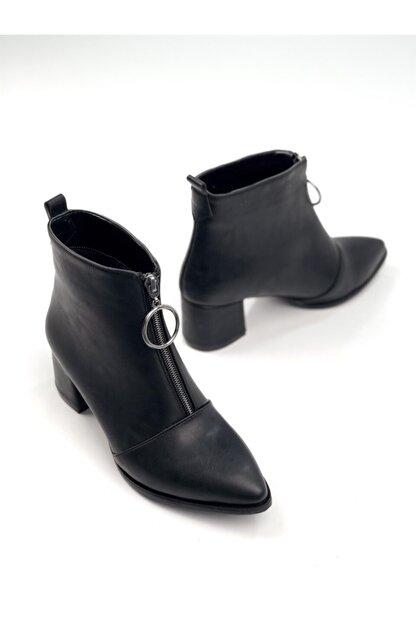 Ayakkabı Ajansı Kadın Siyah Ortadan Fermuarlı Bot