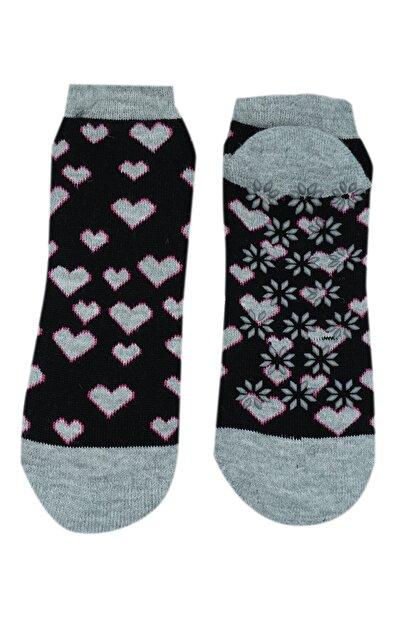 NZR GROUP Kadın Siyah Termal Çorap Poffy Kaydırmaz Tabanlı