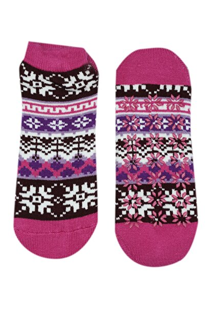 NZR GROUP Kadın Pembe Termal Çorap Poffy Kaydırmaz Tabanlı