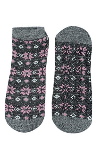 NZR GROUP Kadın Gri Termal Çorap Poffy Kaydırmaz Tabanlı