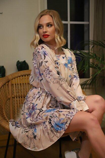 TEORA FASHION Kadın Ekru Kuşaklı Jessıca Elbise E2291