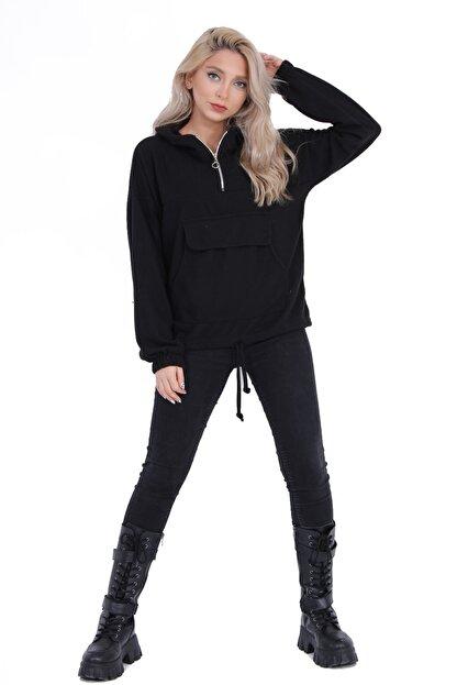 sert vip Kadın Siyah Yarım Fermuarlı Sweatshirt