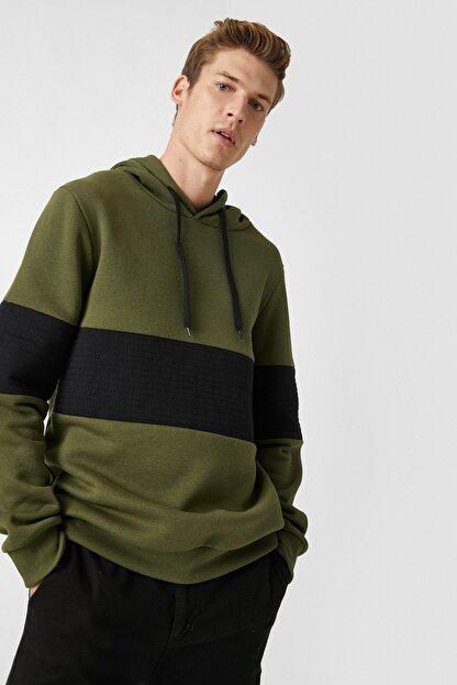 Koton Kapüsonlu Renk Bloklu Uzun Kollu Sweatshirt