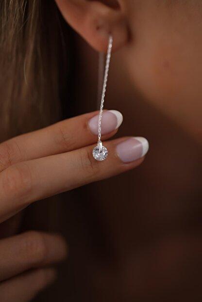 Ninova Silver Kadın Makara Model Sallantılı Zirkon Taşlı Gümüş Küpe
