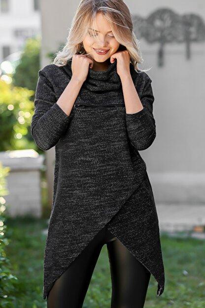 Chiccy Kadın Siyah Bohem Dev Boğazlı Anvelop Fermuarlı Dev Cep Detaylı Sweat M10010700SW99231