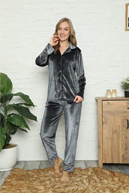 Pijamoni Kadın Gri Kadife Şık Boydan Düğmeli Pijama Takım