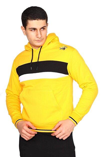 Bessa Sport Erkek Sarı Kapişonlu Kanguru Cepli Sweatshirt