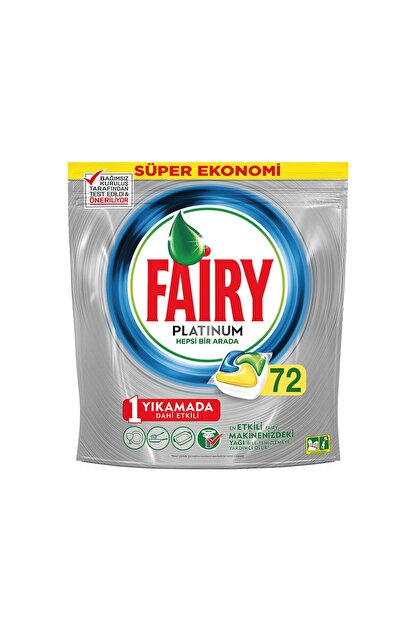 Fairy Platinum Bulaşık Makinesi Limon Deterjanı 72 Tablet
