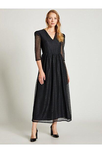 Vekem Kadın Siyah Beli Büzgülü Dantel Elbise