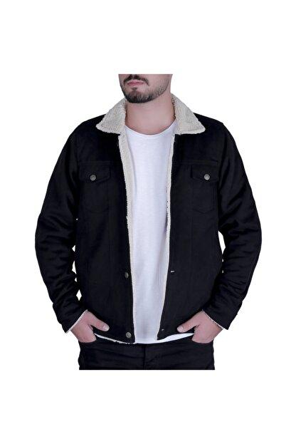 Efeel Fur Jacket Kürklü Erkek Mont Siyah Kalın Gabardin Ceket Kalın Kürklü Regular Fit