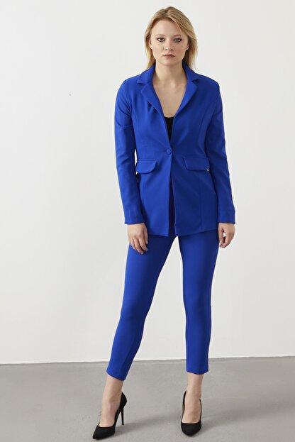 ELBİSENN Kadın Saks Atlas Kumaş Blazer Ceket Pantolon İkili Takım