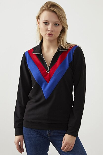 ELBİSENN Kadın Siyah Yaka Fermuar Detay Sweatshirt