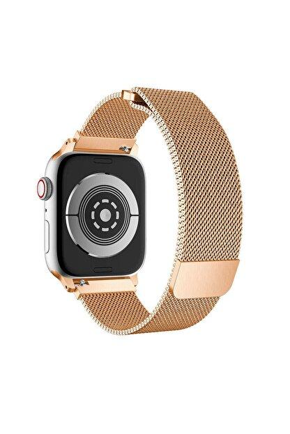 TahTicMer Apple Watch Seri 6 40 Mm Çelik Kayış Hasır Örme Kordon Milano