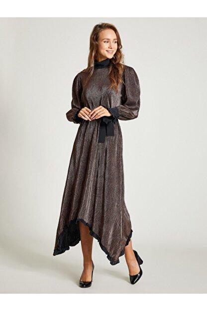 VKM Kadın Bakır Simli Rahat Kesim Elbise 9209-0025