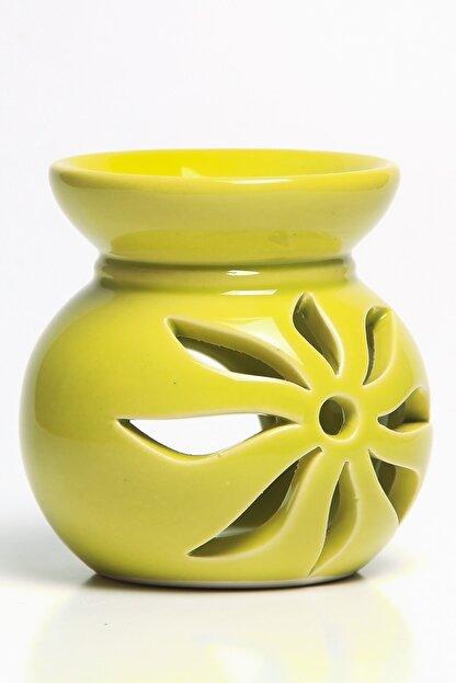 Mitr Lotus Motifli Fıstık Yeşili Seramik Buhurdanlık