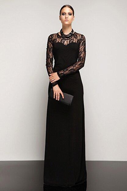 Laranor Dantel Detaylı Dudak Yaka Abiye Elbise