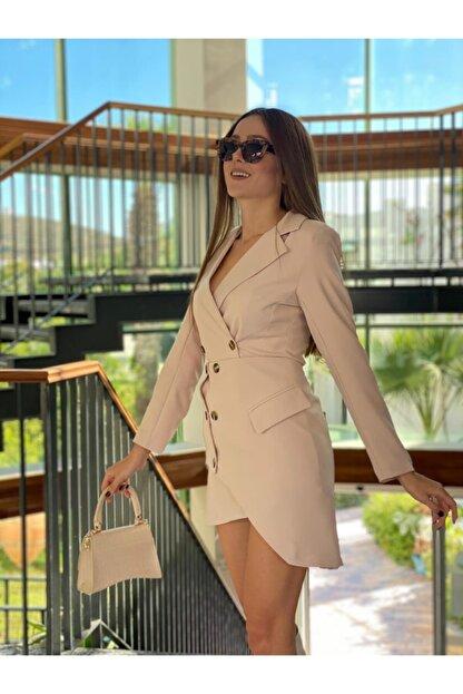 PAİ BUTİK Kadın Ceket Yakalı Asimetrik Etek Ceket Takım