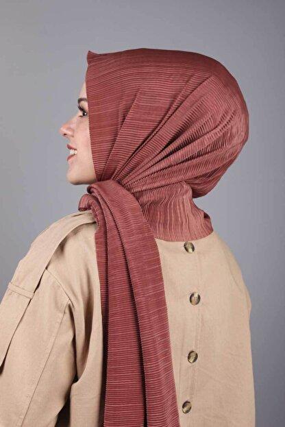 Asmira Kadın Pembe  Düz Renk Pliseli Şal - Renk-07