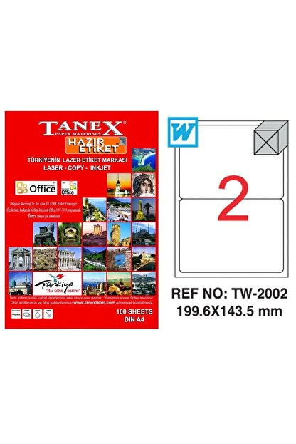 Tanex Lazer Etiket 199,6x143,5 Mm Tw2002