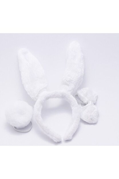 Cakes&Party Pofuduk Papyonlu Ve Ponponlu Tavşan Taç Set Beyaz 0332