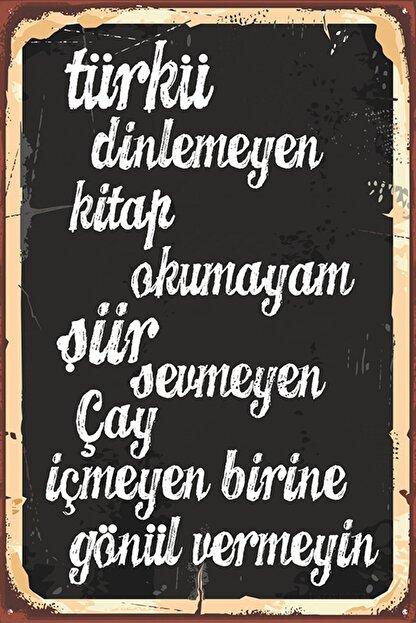 Rems Shop Türkü Kitap Çay Duvar Yazısı Retro Vintage Ahşap Poster