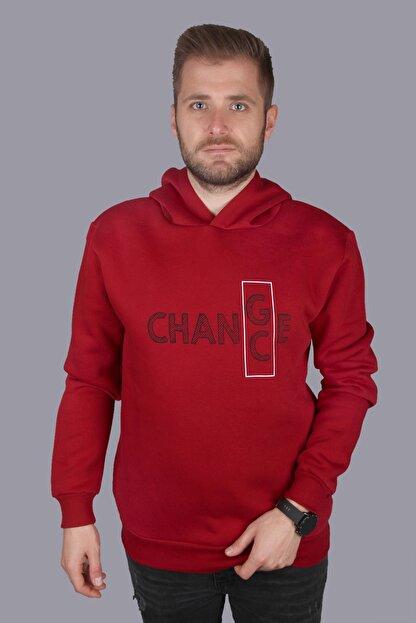 Click To Craft Erkek  Bordo Oversize Kapüşonlu Yazı Baskılı Sweatshirt