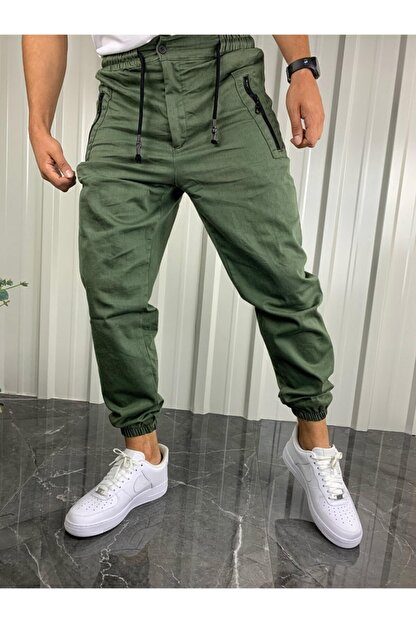 İnsane Minds Erkek  Haki Yeşil Fermuarlı Cepli Jogger Pantolon