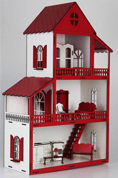 WoodyLife Montessori Ahşap Eğitici Oyuncak Ev Barbi Lol Uyumlu 85cm Ev Kırmızı